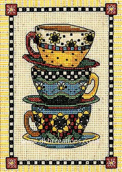Stacked Cups Cross Stitch Kit
